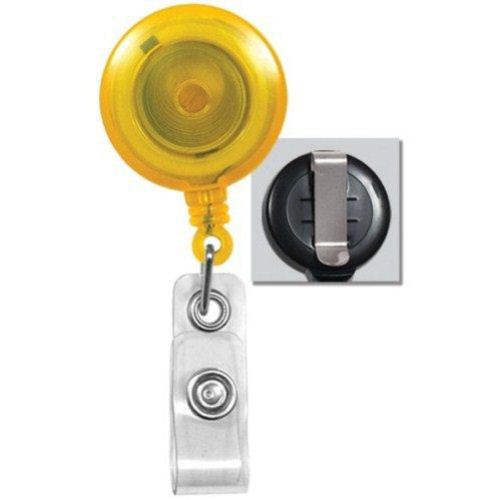Yellow Translucent Round Badge Reel with Belt Clip - 25pk (2120-3609), MyBinding brand Image 1