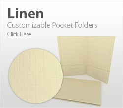Customizable Linen Pocket Folders